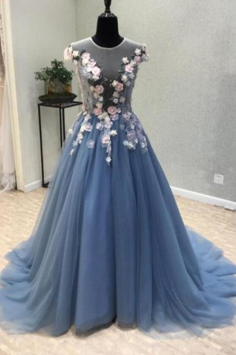 Elegant Scoop A Line Blue Tulle Prom Dresses With Beaded Flowers 2020 Cheap Women Party Gowns ,Sexy Ball Gowns Quinceanera Party Gowns .