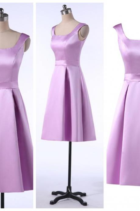 Cheap Light Lavender Satin Short Homecoming Dress A Line Prom Party Gowns Customer Made Party Gowns ,Wedding Guest Gowns 2020