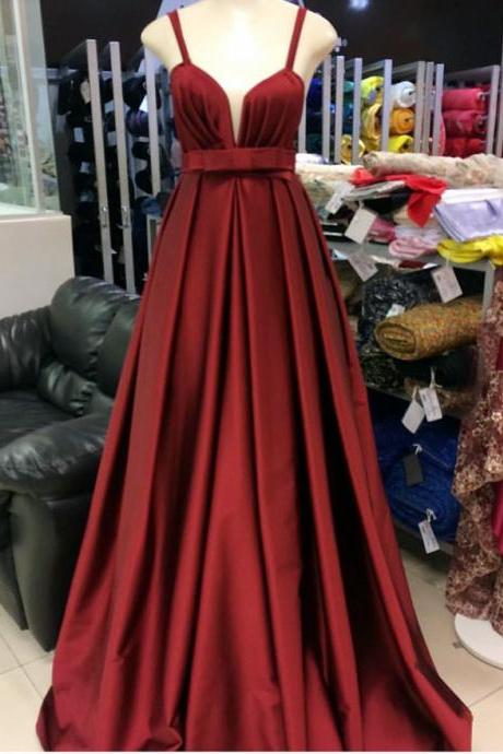 Spaghetti Strap A Line ruffle Long Prom Dress Pleated Cheap Prom Party Gowns ,Custom Made Party Gowns
