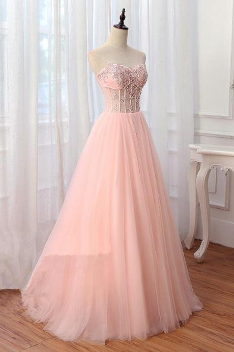 Sparkly Beaded Pink A Line Long Prom Dresses Custom Made Women Prom Gowns ,Sweet 16 Prom Dress, Cheap Party Gowns For Women