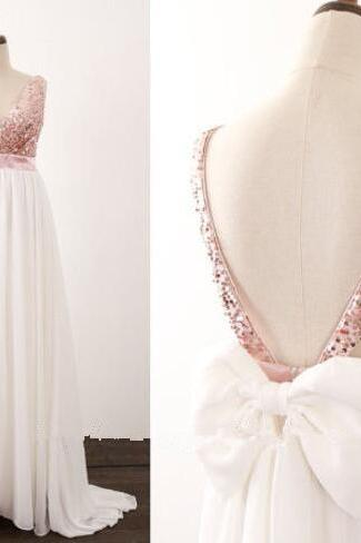 Cheap Backless White Chiffon Long Prom Dress V-Neck Sequin Women Party Gowns Custom Made Bridesmaid Party Gowns 2020