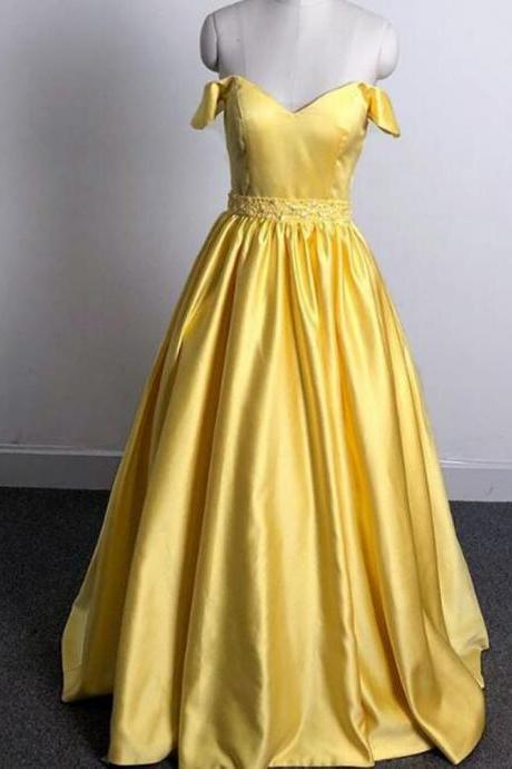 Shiny Beaded Yellow Satin A Line Prom Dress Long Custom Made Women Party Gowns ,Cheap Yellow Prom Gowns Long ,Formal Evening Dress 2020