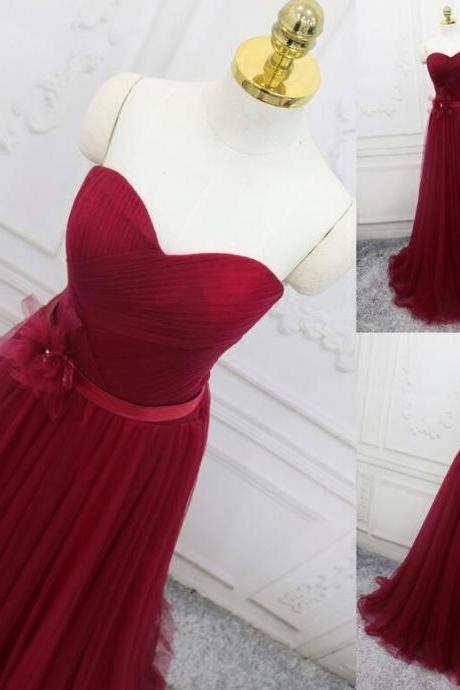 Sexy Burgundy Tulle A Line Long Evening Dress Custom Made Prom Party Gowns ,Cheap Wedding Guest Gowns 2020