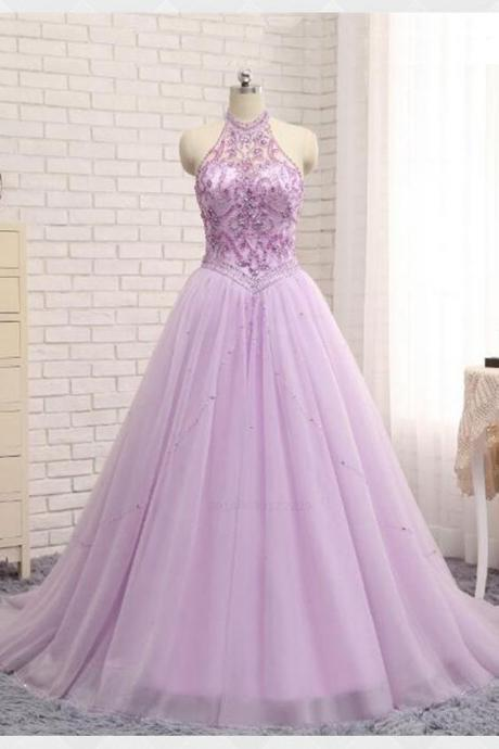 Plus Size Halter Beaded Crystal A Line Prom Dresses,Custom Made Lavender Tulle Prom Dresses,Sweet 16 Quinceanera Dresses