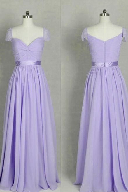 Simple Lavender Chiffon Ruffle Long Prom Dress A Line Bridesmaid Party Dress, Maid Of Honor Gowns ,Cheap Party Gowns 2020