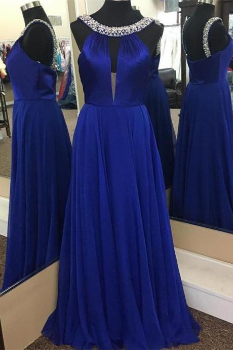 Fashion Blue Chiffon Scoop Neck Beaded Long Prom Dresses Custom Made Women Party Gowns ,Formal Evening Dress 2020