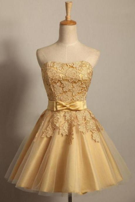 Cheap Gold Lace Short Homecoming Dress A Line Girls Party Gowns ,Custom Made Short Prom Party Gowns