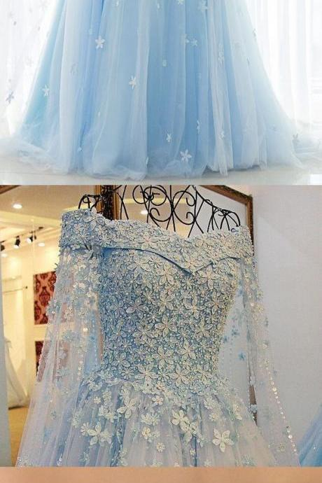 Custom Made Light Blue Long Prom Dresses With 3D Hand Made Flowers 2020 A Line Women Party Gowns ,Wedding Guest Gowns
