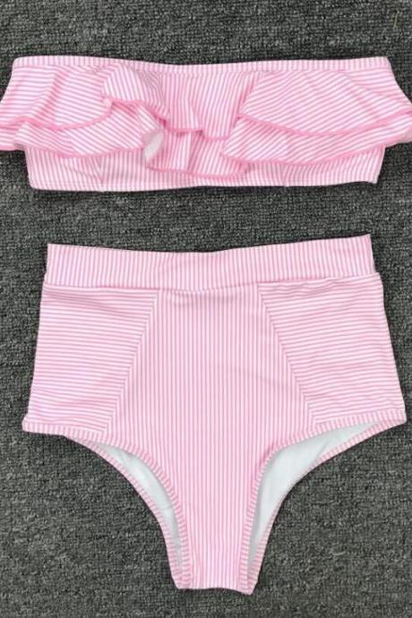 Mini Bikini 2021 Swimwear Women Push Up Bikini Set Padded Bra Sexy Swimsuit Hot Bandage Swim Suit Brazilian Biquini,Cheap Two Pieces Swimwear Pink Stripe