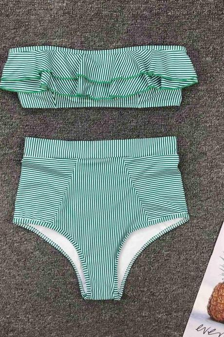Mini Bikini 2021 Swimwear Women Push Up Bikini Set Padded Bra Sexy Swimsuit Hot Bandage Swim Suit Brazilian Biquini,Cheap Two Pieces Swimwear Green Stripe