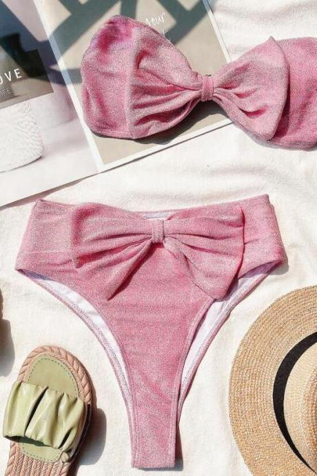 Pink Two pieces bikini set swimsuit with cute bow accent, Push Up Bikini Set Padded Bra Sexy Swimsuit Hot Bandage Swim Suit