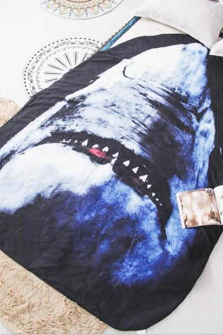 Couple Quilt:67'x 92' 3D Printed Thin Quilt Bedding Cute Shaped Shark Throw Blanket Comforter Washable Light Quilt