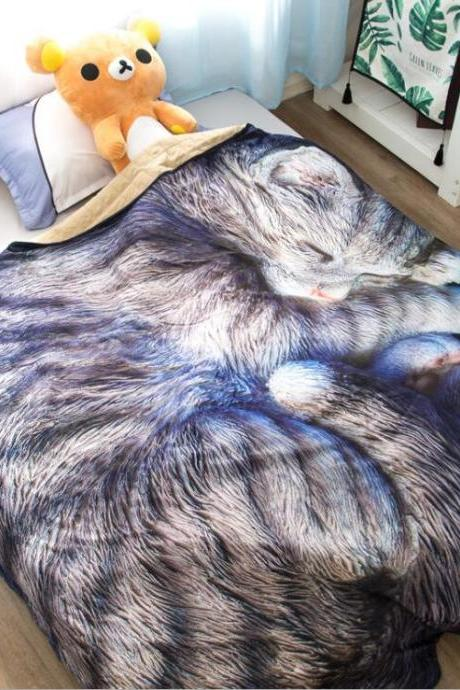 Kids Quilt:31'x45' 3D Printed Thin Quilt Bedding Cute Shaped CAT Throw Blanket Comforter Washable Light Quilt