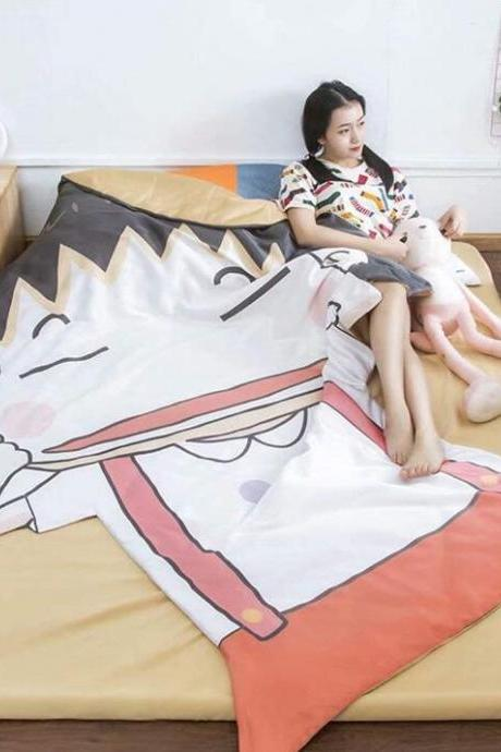 Couple Quilt:67'x 92'Anime Thin Quilts Chi-bi Maruko Throw Blanket 3D Print Cute Bedding Comforter Light Quilt Washable