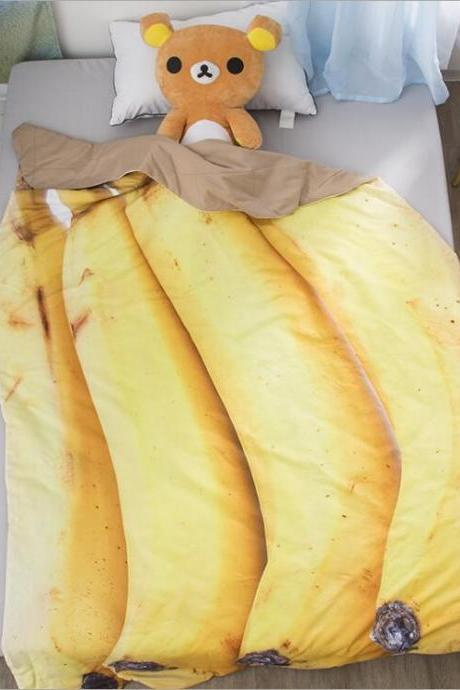 Queen Quilt 87'x94' Anime Thin Quilts Banana Throw Blanket 3D Print Cute Bedding Comforter Light Quilt Washable