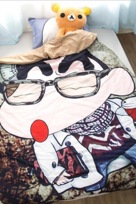Couple Quilt:67'x 92'Anime Thin Quilts Crayon Shin-chan Throw Blanket 3D Print Cute Bedding Comforter Light Quilt Washable