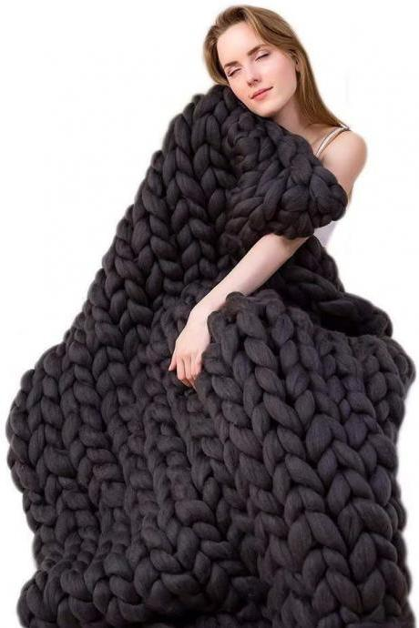 Size 40x80Inches Chunky Knit Blanket Merino Wool Arm Knitted Throw Soft and Huge Throw,Bed Chair Sofa Yoga Mat Rug Black