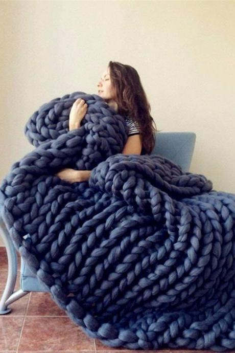 Size 32X40Inches Knit Blanket Merino Wool Arm Knitted Throw Soft and Huge Throw,Bed Chair Sofa Yoga Mat Rug Navy blue