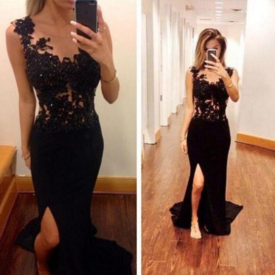 Newly Split Chiffon Long Evening Dresses With Black Lace Spaghetti Straps Formal Women Gowns Beaded Aplliqued Prom Dresses Lady Wedding Dress