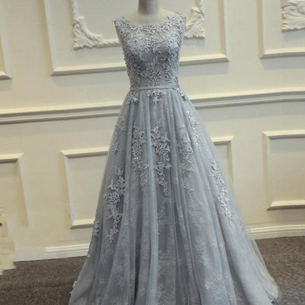 Vintage Gray Lace Appliqued Prom Dresses Ribbon Tulle Women Formal Dresses Back Open Girls Arabic Evening Dress Long Graduation Dress