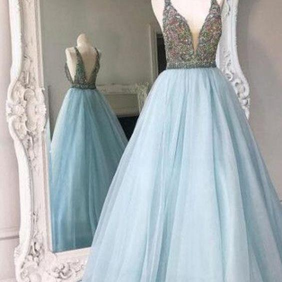 Charming Sky Blue Beaded Crystal Top Long Prom Dresses Organza Back Open Evening Dresses Off Shoulder Formal Gowns Custom Made Party Dresses
