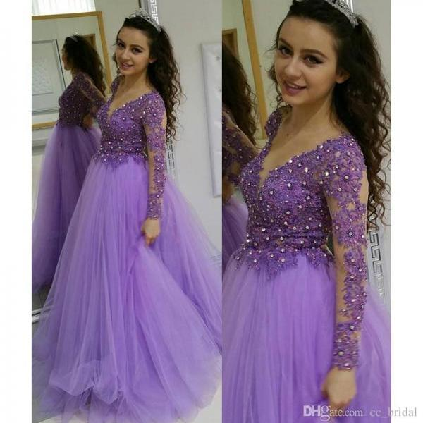 Modern Purple Long Evening Party Dresses 2018 With Sexy Long Sleevelss Dress Party Wear Shine Sequined Runway Fashion Lace Red Carpet Dress,Lavender Prom Dresses, Rhinestone Women Gowns 2018