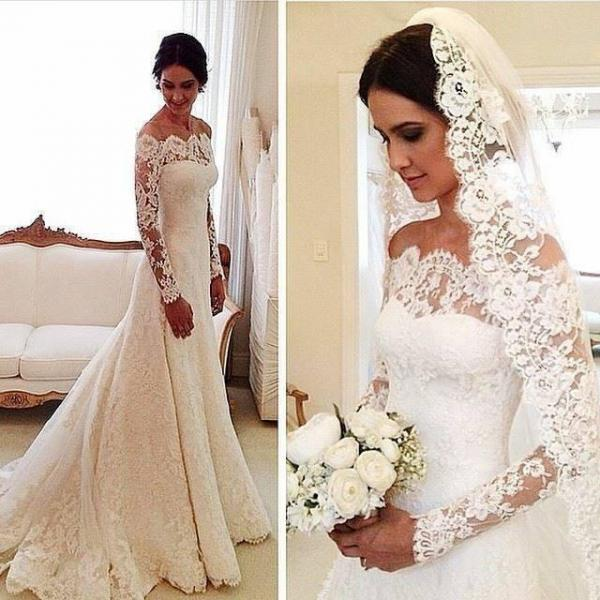 2018 Plus Size Wedding Dress with Long Sleeved Lace Bride Dresses Sexy Off Shoulder Vintage Vestidos De Casamento Novia Custom Made Hot Sale,White Wedding Dresses, Women Gowns Ivory