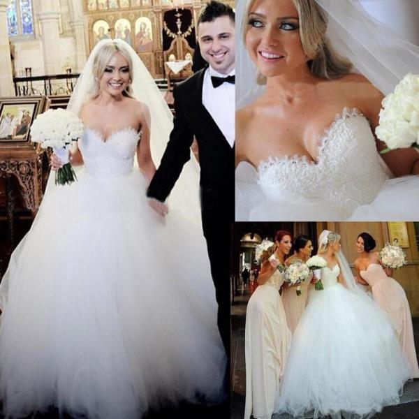 2018 Vintage Strapless Princess Beaded Lace Ball Gown Wedding Dress Bridal Dresses Tulle Robe De Mariage,White Wedding Dresses, Plus Size Pricess Wedding Gowns