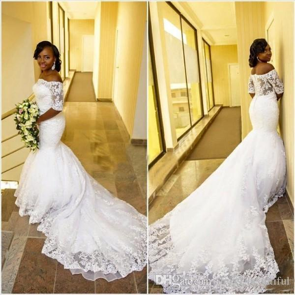 Gorgeous Off the Shoulder Mermaid Wedding Dress 2018 Lace Appliques See Through Back Arabic African Bridal Gowns with Short Sleeves,White Half Sleeve Lace Wedding Dresses, Spring Bridal Gowns Plus Size