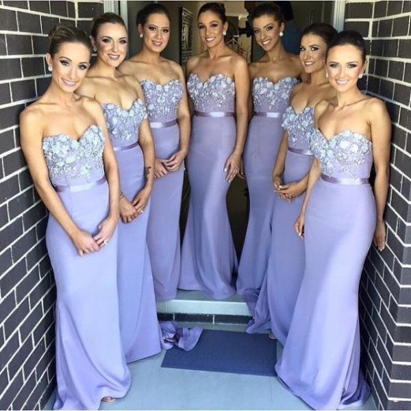 Lavender Bridesmaid Dresses Mermaid 2018 New Arrival Hand Make Flowers Mermaid Maid of honor Dress Long Party Gowns for Weddings High Quality Bridesmaid Gowns Elegant Wedding Guest Dress