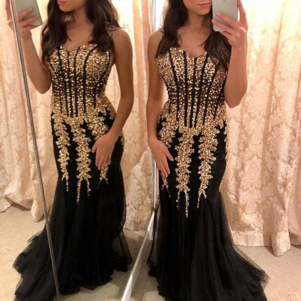 Strapless Sweetheart Gold Applique Prom Dresses Tulle Skirt Evening Gown2018 Luxury Black Tulle Sheath Evening Dress Off Shoulder Long Women Dress Weddings , Mermaid  Prom Gowns