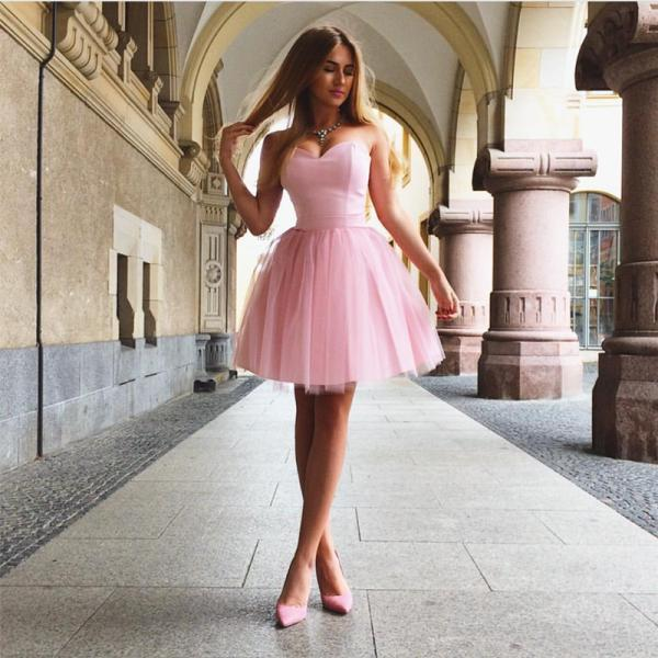 short prom dress,sweetheart homecoming dress,tulle cocktail dress,semi formal dresses,Pink Tulle Prom Dress, Tulle Mini Homecoming Dress, Short Graduation Gowns ,Plus Size Women Gowns