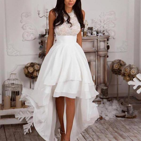 2018 White Chiffon High Low Prom Dresses,Lace Homecoming Dress, A line Party Gowns, Women Dress, Short Prom Gowns , Long Women Dresses, Women Weddings Gowns