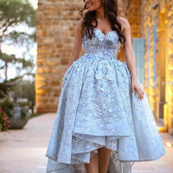 Amazing Gray Lace Sweetheart High Low Prom Dresses Long 2018 New Arrival Sweetheart Ball Gowns Prom Plus Size Short Homecoming Dress Long Evening Gowns Hand Made Flowers