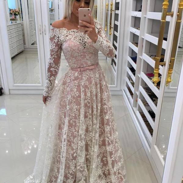 Sheer Lace Off Shoulder Evening Dresses with Long Sleeves 2018 New Arrival White Lace Beaded Long Prom Dresses A Line Arabic Women Dress With Bow