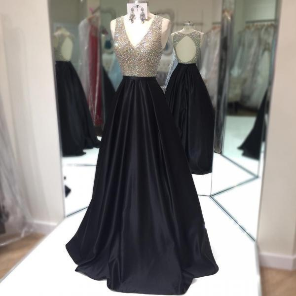 Sexy Sleeveless Prom Dress, Beaded V Neck Prom Dresses, Long Evening Dress,2018 Shiny Black Satin Formal Evening Dresses, Crystal Beaded Long Women Party Dresses