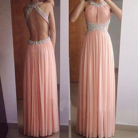 Sexy Backless Chiffon Prom Dresses Crystals beaded Party Dresses Floor Length Women Dresses ,2018 Sparkly Beaded Formal Evening Dresses, Sexy Backless Prom Dress