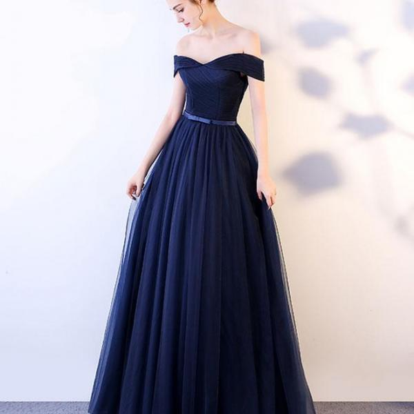 Dark Blue Long Prom Dress, Blue Tulle Evening Dress, Navy Blue Prom Dress, Tulle Prom Evening Dress, Prom Dress for Weddings, Formal Gowns