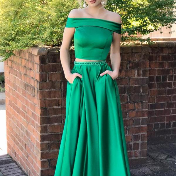 Two Piece Off Shoulder Green Long Prom Dress with Pockets, Green Prom Dresses, Red Prom Dresses, 2 Pieces Prom Dresses, Senior Prom Dresses, Formal Dress
