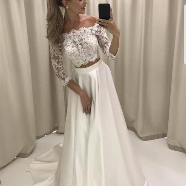 White Lace Prom Dresses, Two Pieces Prom Dresses, Lace Sleeves Prom Dresses, A-line Long Prom Party Dresses, Senior Prom Dresses,2018 Wedding Party Dresses