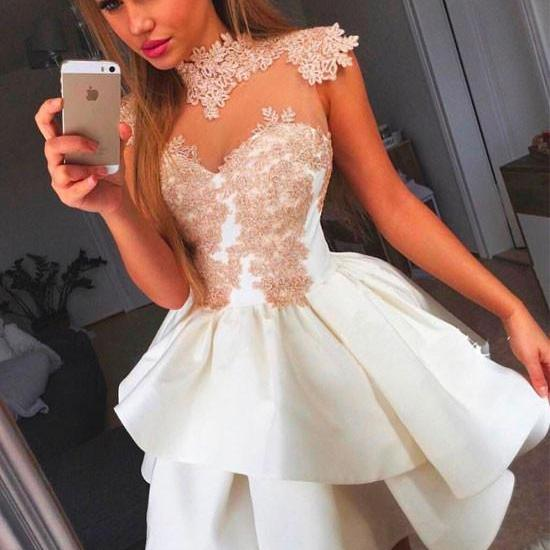 Cute Short Prom Dress, Short Homecoming Dresses, Lace Appliqued Homecoming Gowns, Short Graduation Dresses, Girl's Party Dresses, Prom Party Gown,2018 High Neck Party Dresses
