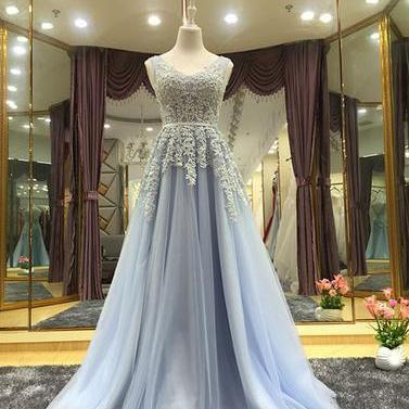 Elegant A line Tulle Lace Long Prom Dress, Woman Prom Evening Dresses, Sexy Formal Dresses, Lace Evening Dess, Lace-up Prom Dresses 2018