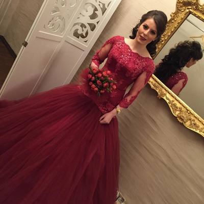 New Arrival O-Neck Lace Mermaid Prom Dresses 2018 Sexy Burgundy Tulle Appliqued Long Evening Dress Plus Size Wedding Dresses, Burgundy Lace Wedding Gowns