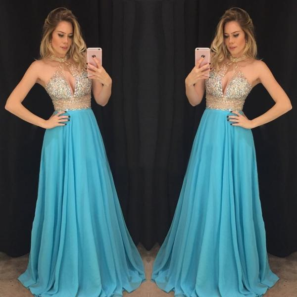 New Arrival Halter Beaded Crystal Prom Dresses 2018 Plus Size Sexy Women Party Dresses Plus Size A Line Long Evening Dress Custom Made Women Party Gowns