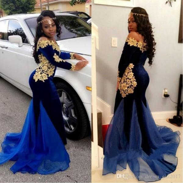 2018 Newly Long Sleeves Prom Dresses Elegant Boat Neckline Floor Length Mermaid Royal Blue Velvet Evening Gowns With Gold Lace ,2018 Royal Blue Mermaid Prom Dresses