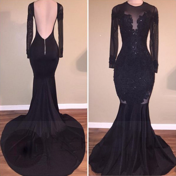 Backless Sexy  Prom Dresses, Long Sleeves Prom Dresses, Mermaid Black Women Prom Dresses, 2018 Sheer Long Sleeve Lace Prom Gowns , Cusstom Made Evening Dresses