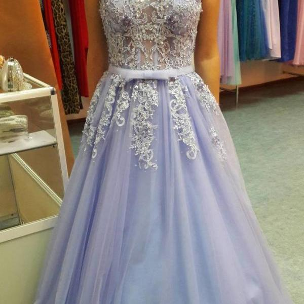 Charming Prom Dress, Sexy Sleeveless Tulle Appliques Prom Dresses with Beaded, Long Evening Dress,2018 Custom Made Beaded Formal Evening Dress, A Line Formal Evening Gowns