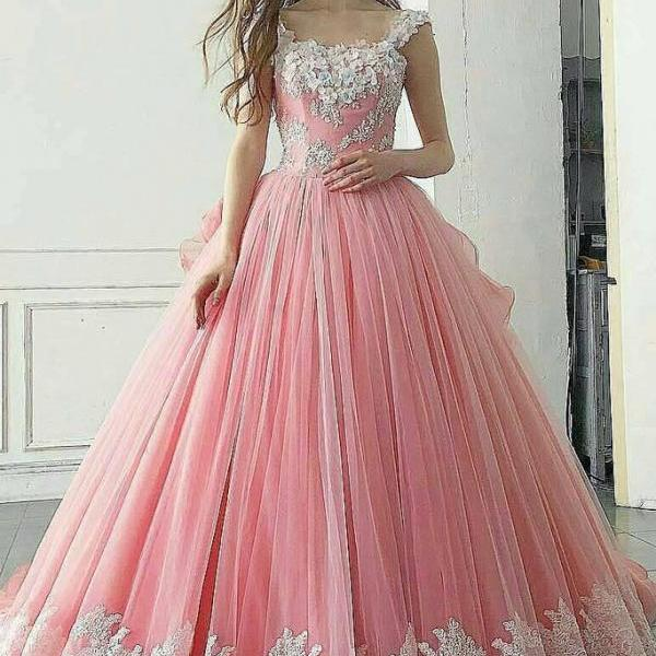 Charming Prom Dress, Sexy Sleeveless Tulle Prom Dresses, Appliques Long Evening Dress,2018 Plus Size Ball Gowns Prom Dresses, Sexy Wedding Gowns