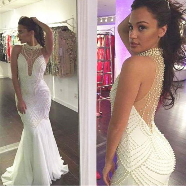 Sexy Backless Mermaid Wedding Dresses 2018 Sexy White High Neck Pearls China Wedding Gowns Plus Size Women Gowns ,Bridal Gowns