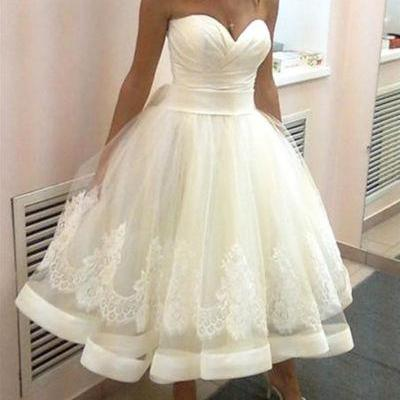 2018 New Arrival White Lace Short Wedding Dresses Pricess Custom Made Wedding Gowns Plus Size Bridal Dress